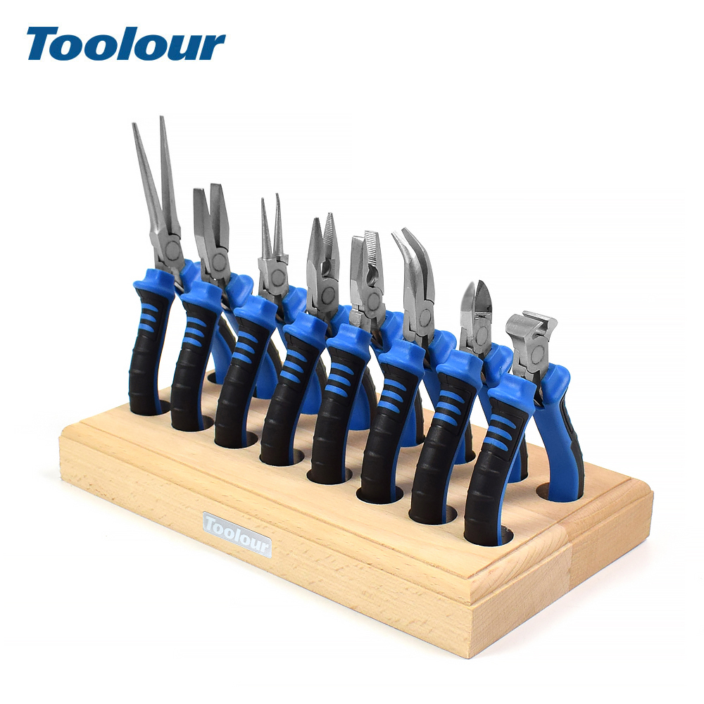 Toolour 8PC 4 5inch Precision Pliers Set Mini Pliers Diagnoal Pliers Wire Cutting Long Nose Pliers Jewelry Making DIY Hand Tool Kit