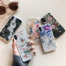 Qianliyao, чехлы для телефонов с цветами из золотой фольги для iphone X, XS, Max, XR, 8, 7, 6 S, 6 Plus, тонкая прозрачная мягкая задняя крышка из ТПУ, кружевные цветочные чехлы