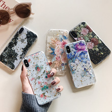 Qianliyao Gold Foil Flowers Phone Cases For iphone X XS Max XR 8 7 6S 6 Plus Slim Clear Soft TPU Back Cover Lace Floral