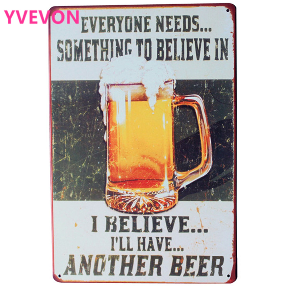 BELIEVE in BEER Metal Sign Vintage Chill Alcohol Beverage Plate for - Home Decor