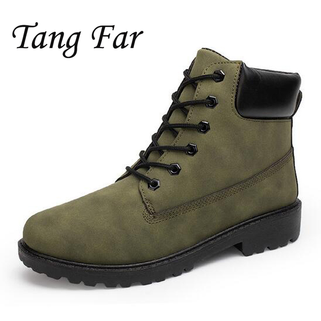 Men Boots Plus Size New Leather Ankle Boots Mens Fashion Snow Shoes Luxury Brand Work Booties Waterproof Rain Boots