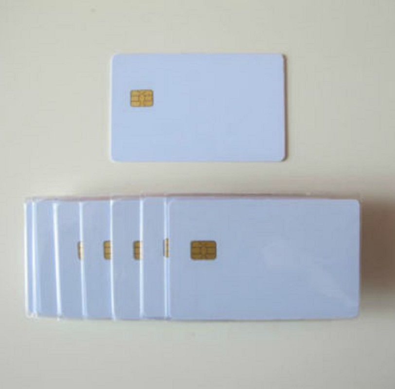 200Pcs White No Printing Contact PVC smart card with CHIP SLE 4442 Protocal 7816