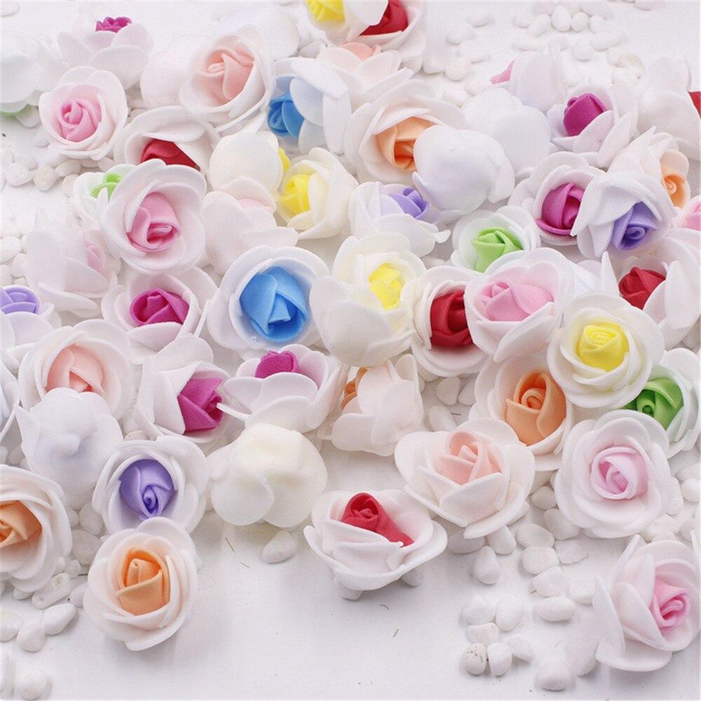 50 шт. мини ПЭ пена 2 вида цветов роза искусственный цветок голова для свадьбы украшения дома DIY ВЕНОК День Святого Валентина поддельные цветы