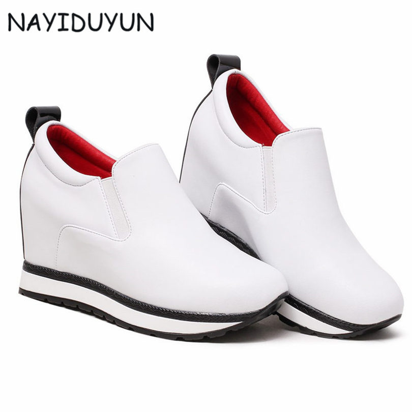 NAYIDUYUN Women Genuine Leather Wedges High Heels Pumps Platform Creepers Round Toe Slip On Casual Shoes Boots Wedge Boots bling patent leather oxfords 2017 wedges gold silver platform shoes woman casual creepers pink high heels high quality hds59