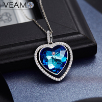 Veamor White Gold Color Heart Necklaces For Women Blue Crystals From Australia Heart Of The Sea