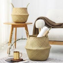Cesta de almacenamiento de cocina para el hogar, plegable, natural, hierba marina, tejido, juguete, maceta de almacenamiento, florero de jardín, cesta de mimbre colgante, organizador de cestas hinchadas