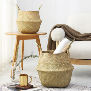 Household Storage Foldable Natural Seagrass Woven Storage Basket Pot Garden Flower Vase Hanging Wicker Basket Bellied Baskets(China)