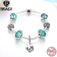 925 Sterling Silver Green Crystal Petals Clover Pendant Murano Glass Beads Charm Bracelet Luxury Authentic Silver Jewelry GYB013
