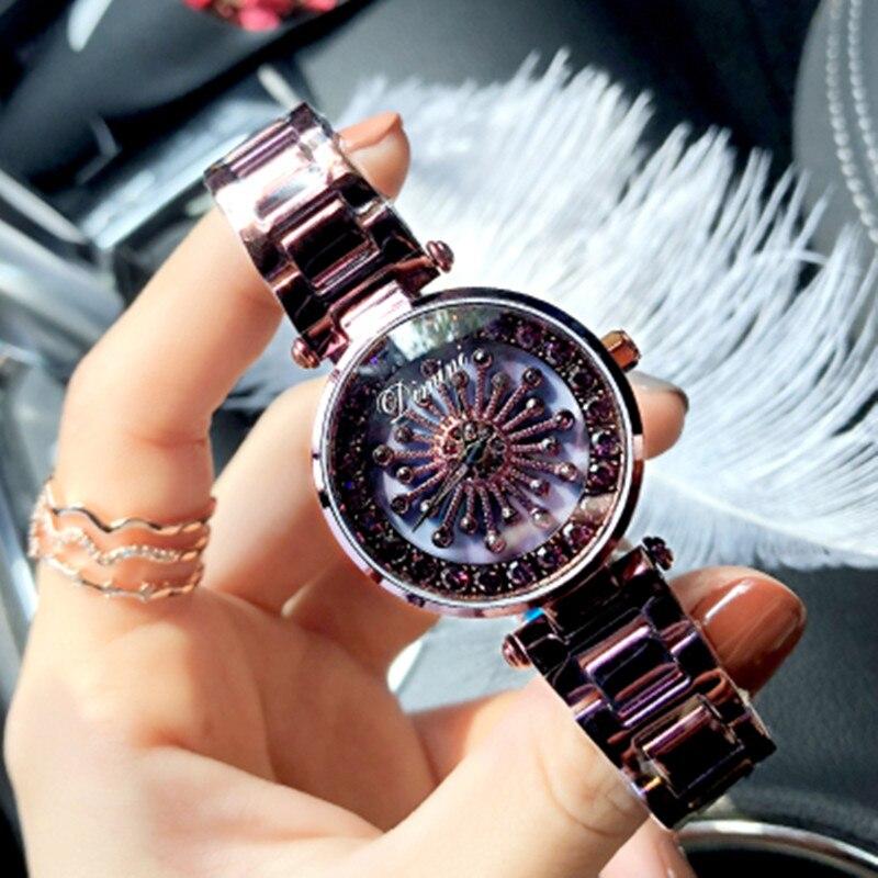 Top rotación marca mujeres Rhinestone relojes moda Casual reloj mujeres elegante reloj de cuarzo de lujo relojes impermeables horas