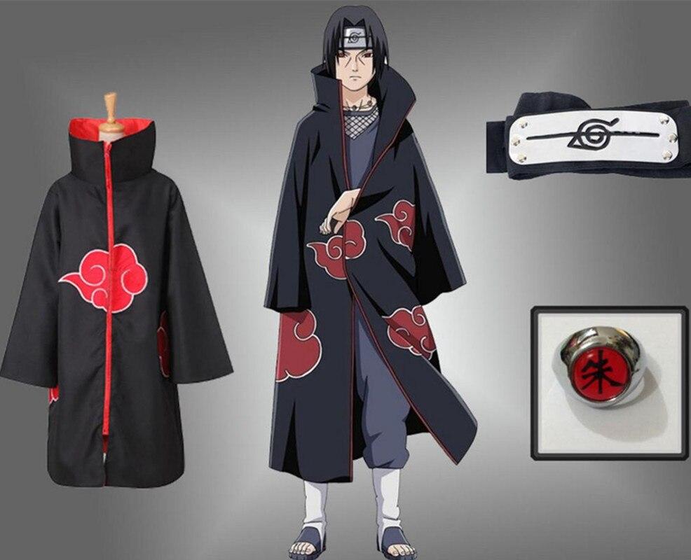 Halloween Anime NARUTO Uchiha Itachi Cosplay Costume Akatsuki Ninja Wind Coat Cloak Cape Robe Coat set Ring Headband