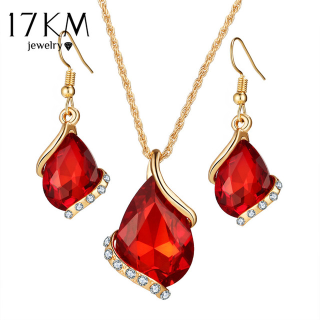 17KM Bridal Wedding Accessories Gold Color Love Crystal Jewelry Sets For Women Pendent Necklace Hook Earrings Jewellery Set