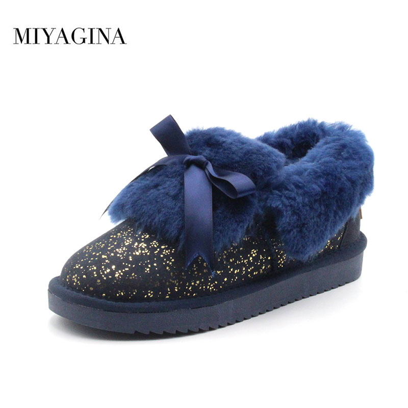 все цены на New Genuine Sheepskin Leather Snow Boots Natural Fur Botas Mujer 100% Real Wool Women Warm Winter Boots Fashion Women Shoes онлайн
