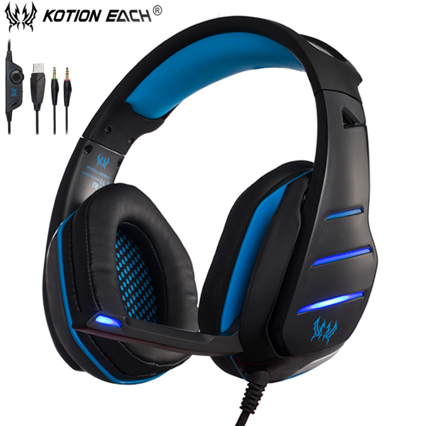 KOTION EACH GS800 Best Wired Gaming Headphones Bass Casque PC Headset Gamer with Microphone Mic Led Noise Isolation for Computer gaming headset led light glow noise cancealing pc gamer super bass headband headphones with microphone for computer pc