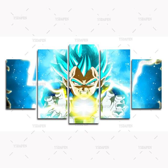 5 Panels High Quality Frame Canvas Painting dragon ball Vegeta blue ...