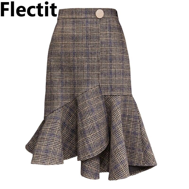 Flectit Fall Winter Wool Blend Glen Plaid Skirt With Ruffled Hem Gold Button Elastic Waist Asymmetrical Midi Skirt