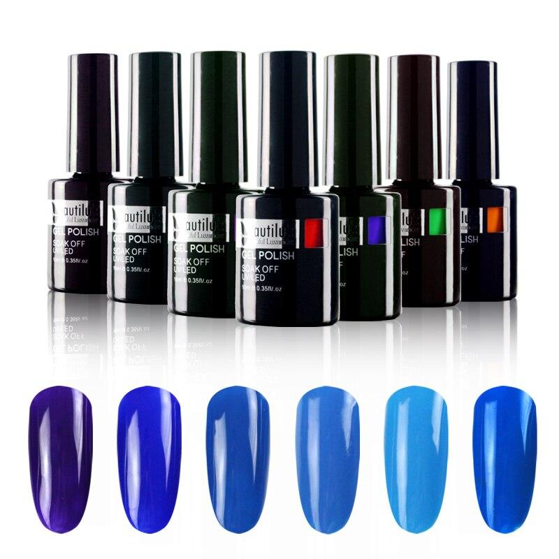 Hot Sale 1pc Eco-friendly UV LED Soak Off Nail Art Blue Gel Nail Polish 10ml