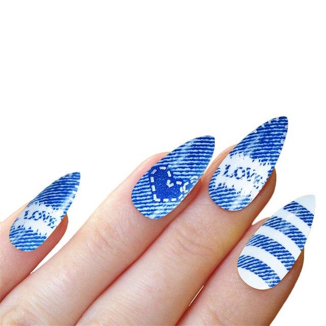 Online Shop New Stiletto Nails Tip False Nails With Glue Manicure