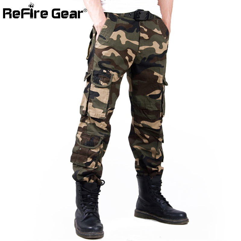 Men Casual Tactical Camouflage Cargo Pants Camo Pattern Army Combat Pants Fashion Cotton Work Fashion Pockets Military Trousers