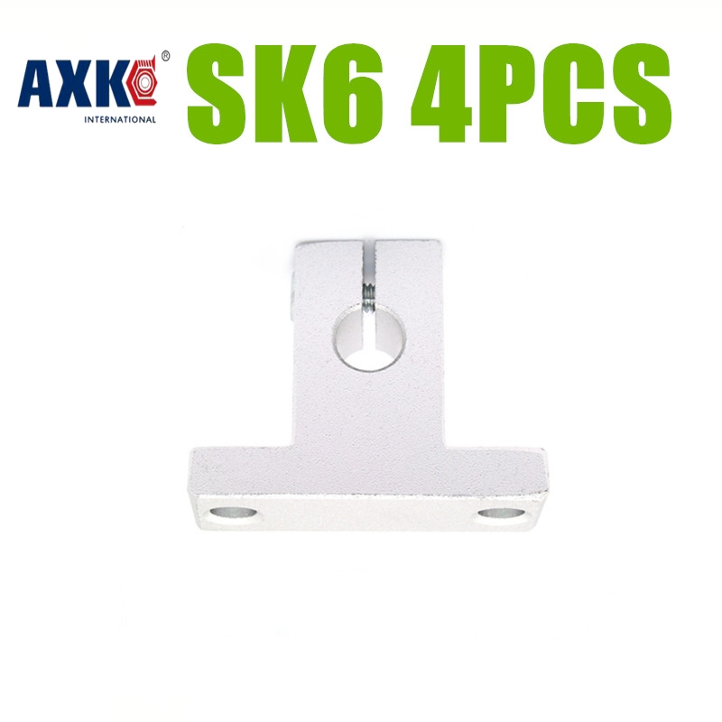 Axk Free Shipping 4pcs Sk6 6mm Linear Shaft Support Cnc Router Sh6a For 6mm Linear Rail Rod Sk6 free shipping to argentina 2 pcs hgr25 3000mm and hgw25c 4pcs hiwin from taiwan linear guide rail