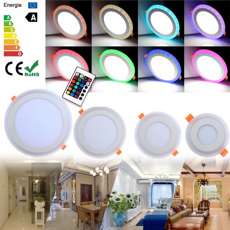 AC85-265V 3/6/12/18W LED Ceiling Light Fixture Panel Lamp Ultra Slim RGB Dual Color Recessed Non Dimmable