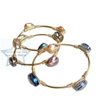 Western Style Women Water Drop Glass Crystal Gold Copper Wire Wrapped Bangle Jewelry Bracelets