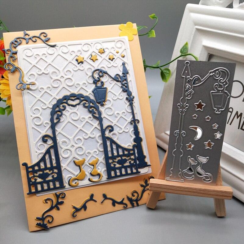 Star Moon Cat Street light Metal Cutting Dies Handicraft Scrapbook Paper Craft Album Card Punch Knife Art Cutter 10 3 4 3 CM in Cutting Dies from Home Garden