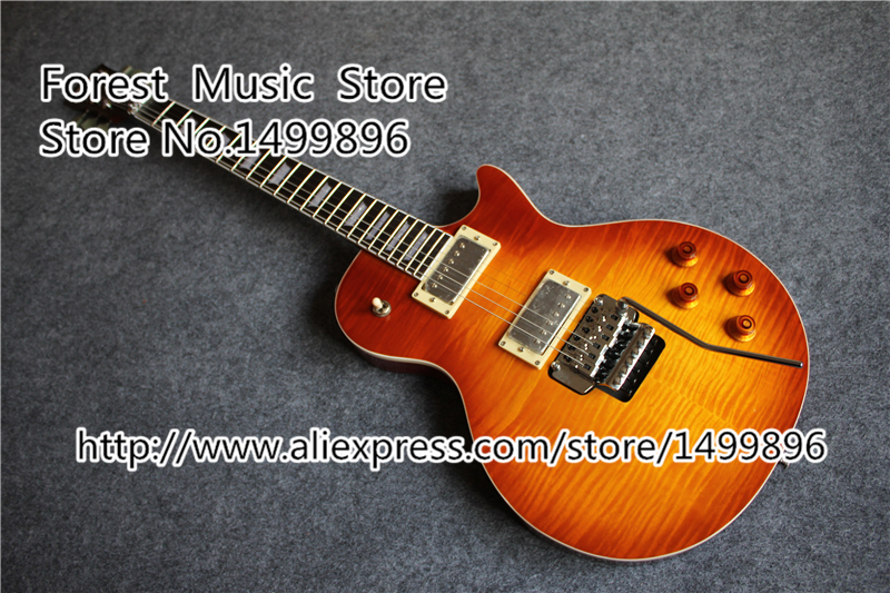 цена на Hot Selling Tiger Flame Finish AL LP Standard Electric Guitars With Chrom Floyd Rose Tremolo In Stock