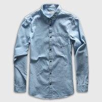 Zecmos Denim Shirt Men Long Sleeve Casual Shirt Jeans Male Fashion