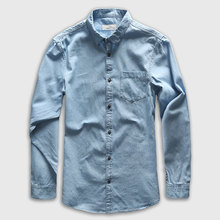 Zecmos Denim Shirt Men Long Sleeve Casual Shirt Jeans Male Fashion