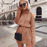 Simenual Turtlenecks sweater dress with open shoulder 2018 autumn winter long sleeve short dresses for women straight vestidos