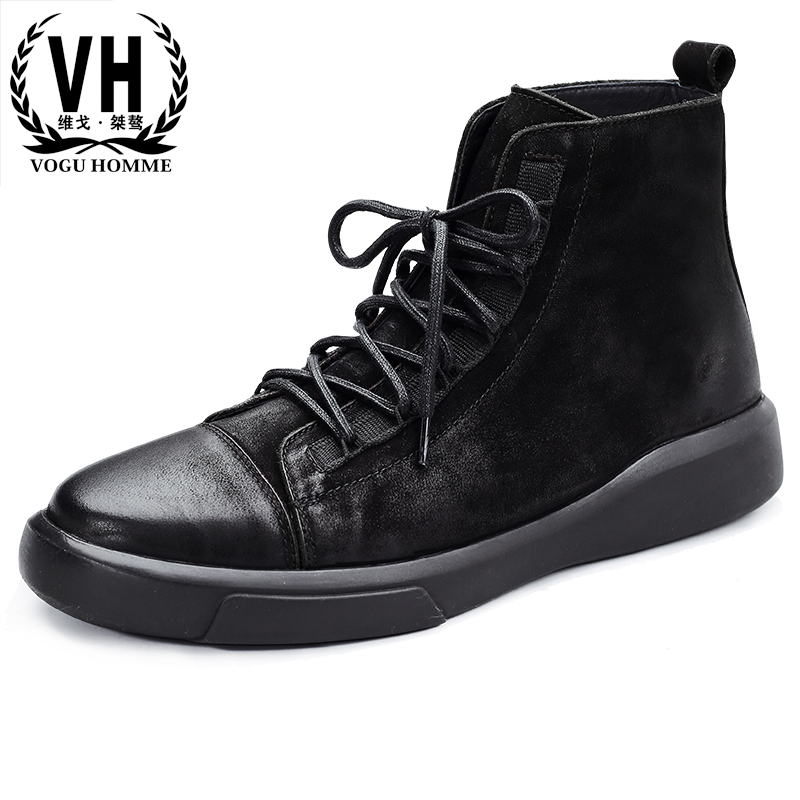 autumn winter new men's Chelsea boots men high top shoes flat short boots all-match cowhide Martin boots breathable Leisure