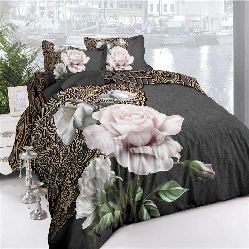 3/4pcs Cotton 3D Rose Bedding Sets High Quality Soft Duvet Cover Bedsheet Pillowcase Reactive Printed Bedclothes Queen Bed Cloth