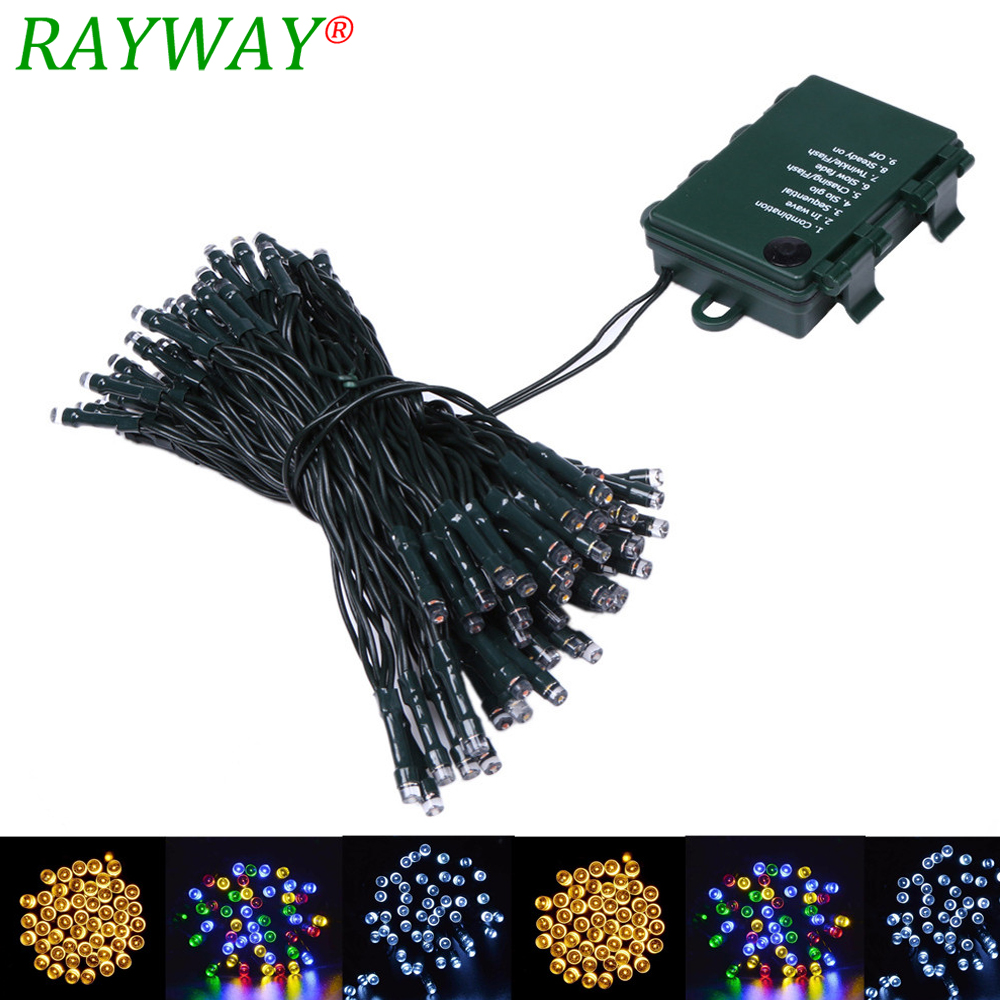 RAYWAY 10M Waterproof LED Fairy String Light Outdoor 8Mode 4.5V Xmas Battery Powered String Light for Party Wedding Holiday