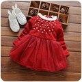 Outono inverno quente crianças bebê manga longa crianças meninas crianças engrossar princesa frisada vestido de festa de veludo engrossar dress vestido s4211