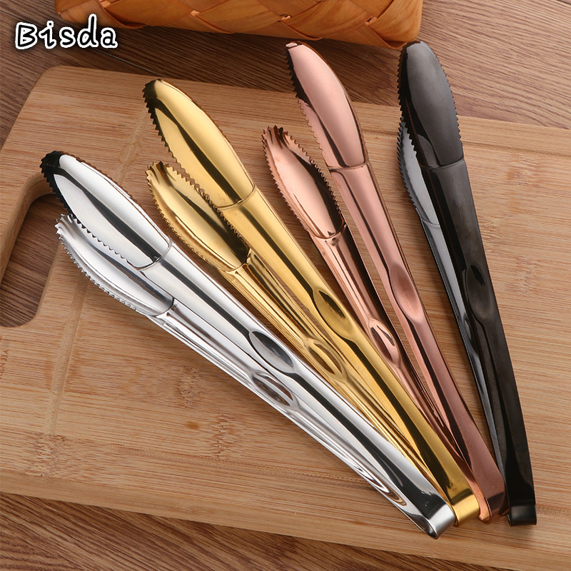 1Pc Salad Tongs Stainless Steel Bread Clip Gold Tableware Multi function Ice Meat Tong Food Server