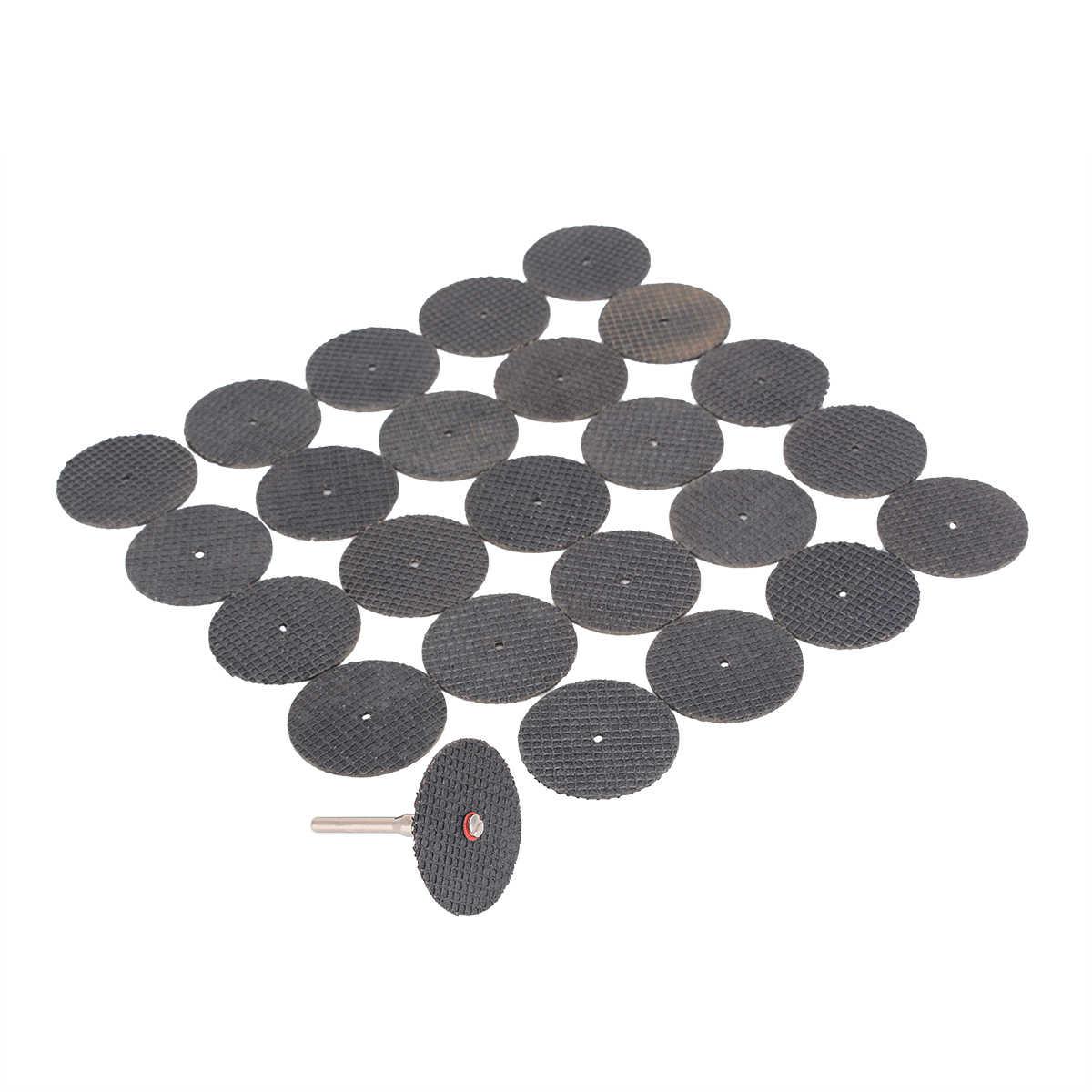 25 adet aşındırıcı reçine kesme tekerleği 32mm kesme diskleri seti Mandrel ile 37mm x 2mm mayitr döner aletler için