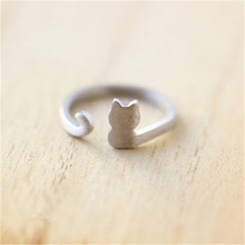 Simple Design Cat Animal Ring Jewelry.Cute Tiny Kitty Ring.Gold/Silver Plated Female Ring(China)