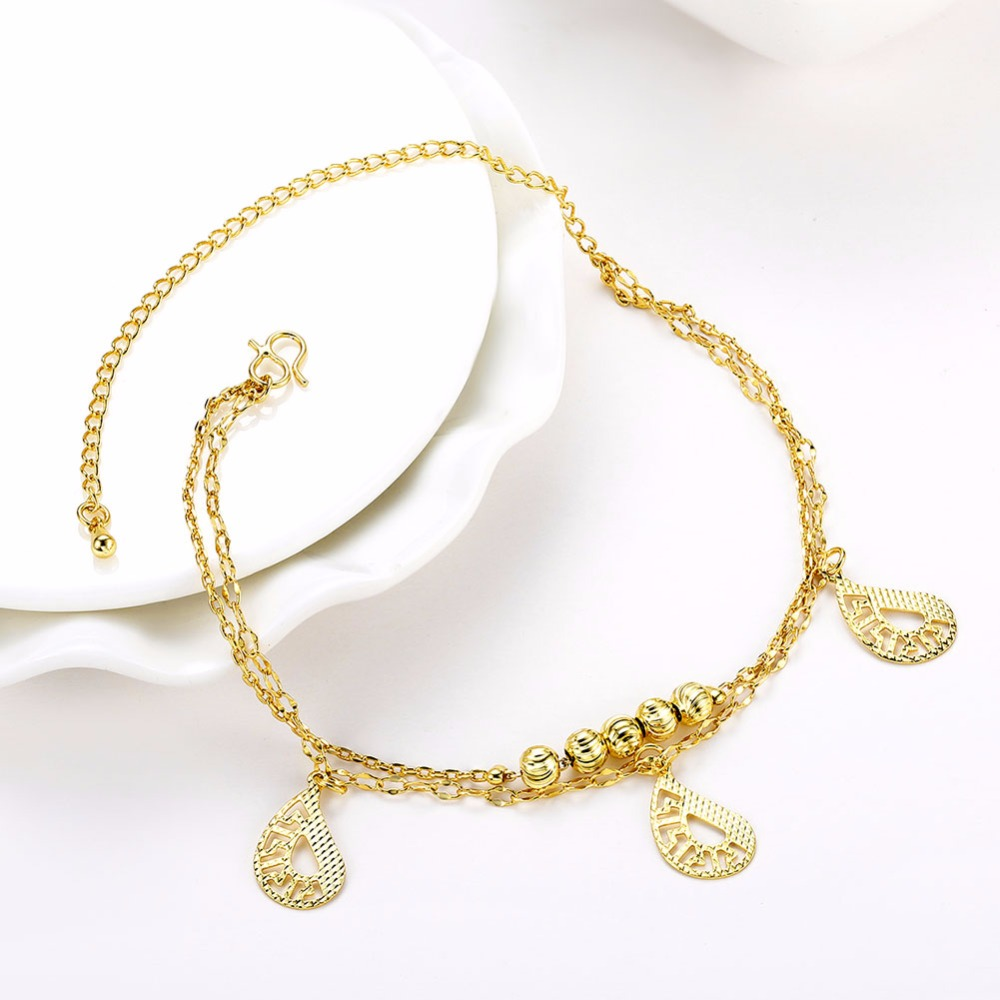 Best Double Layer Hollow Anklets Bracelet Foot Chain Gold Plated