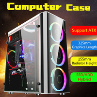 Leory Steel+Acrylic USB3.0 Gaming Computer Case Cover Side Translucent 5 Fans Chassis for ATX for M ATX for Mini ITX 38x18x40cm