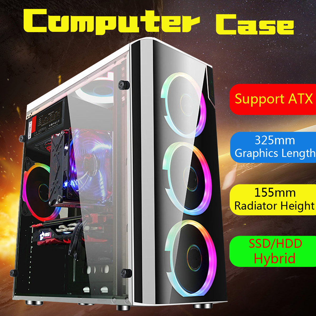 Leory Steel+Acrylic USB3.0 Gaming Computer Case Cover Side Translucent 5 Fans Chassis for ATX for M-ATX for Mini-ITX 38x18x40cm