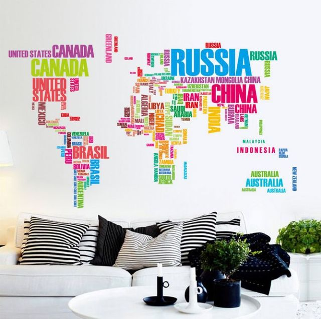 Colorful English Words World Map Office, Living Room Background Removable  Wall Stickers Mural Sticker DIY Part 50