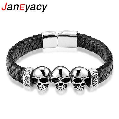 Модные плетеные черные кожаные браслеты браслет с черепом панк