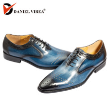 Handmade Office Business Wedding Dress Genuine Leather Mens Shoes blue Luxury mixed color Formal pointed toe Oxfords men shoes