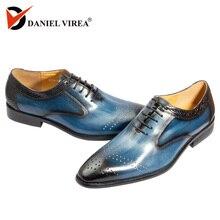 Handmade สำนักงานธุรกิจชุดของแท้รองเท้าหนังผู้ชายหรูหราสีฟ้าผสมสีอย่างเป็นทางการชี้ toe Oxfords รองเท้าผู้ชาย