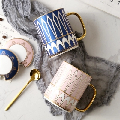 Simple Creative Nordic Mug Office Household Water Cup Couple Ceramic Breakfast Cup Milk Coffee Cup With Lid Spoon Gift Box in Mugs from Home Garden