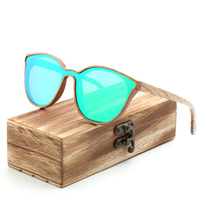 2018 New Fashion polarized wooden women sunglasses Cat's eye full mirror luxury handmade men bamboo wood sun glasses With box