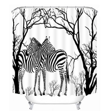 Cartoon Zebra Lover 3d Shower Curtains Animal Pattern Bathroom Curtain Waterproof Thickened Bath Customizable