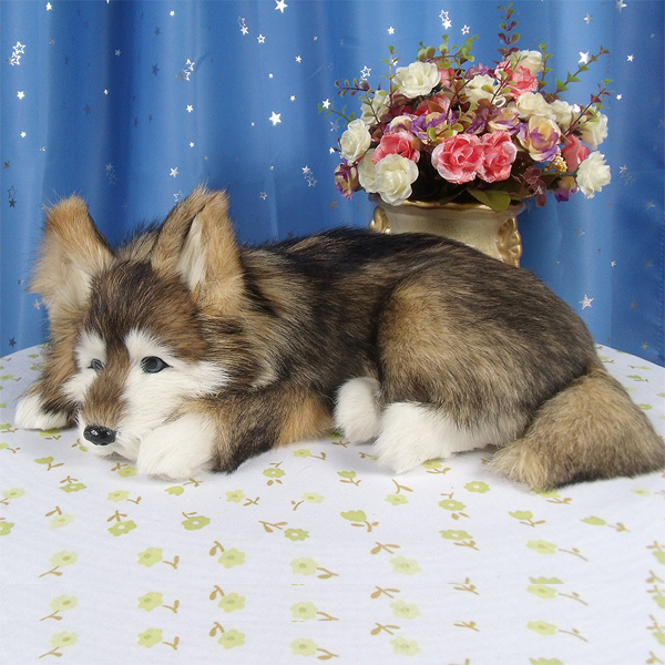 new simulation lying husky toy polyethylene & furs dog model doll gift about 36x25x14cm 1851 1 6 scale model metal gear solid v the phantom d dog diamond dog about 23cm collectible figure model toy gift