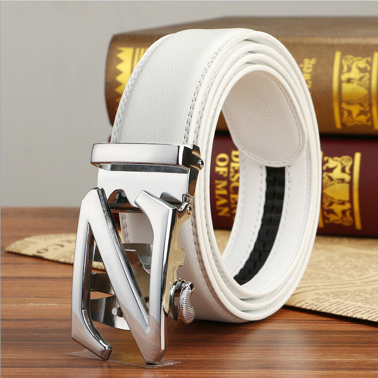 Famous Brand White   Belt   Men Hight Quality Cowskin Genuine Luxury Leather Men's   Belts   for Men,Strap Male Metal Automatic Buckle