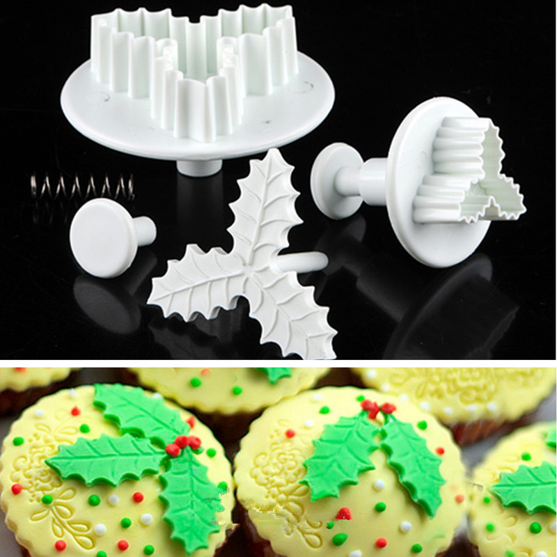 2pcsset baking tools leaf cake cookie cutters mould sugarcraft fondant decorating plunger bakeware christmas kitchen supplies in cake molds from home
